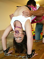 Rich spoiled slut getting cuffed and punished with a mean cock