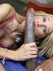Tight blonde cutie gets in trouble with a monster black cock