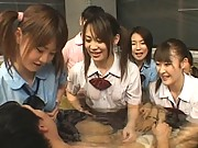Amateur Asian schoolgirls getting naked for lesbian fun