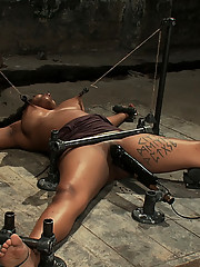 First timer Mia Stiletto metal bound to the floor, spread wide and abused.