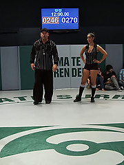 RD 2 of the 4 girl non-scripted Tag Team match we shot in front of a live audience.  Brutal scissors and head locks. Girls fingered during wrestling.