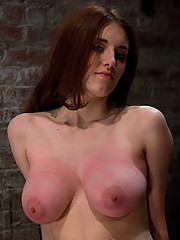 18yr with huge natural tits is bound down and made to cum.  She resists at first but is soon overwhelmed and cumming like little slut.