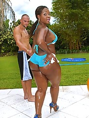 Amazing mega hot booty babe gets her black ass fucked hard in these outdoor wet fuck pics