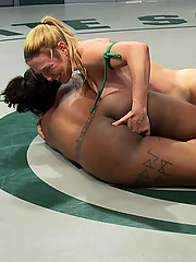 Tiny white girl with huge tits battle booming black girl with huge tits in un-scripted real wrestling!  Winner gets to fuck the loser!  Submission!