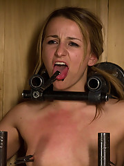 Dirty whore Jessie Cox metal bound inside a wooden box, zippered and given a good hosing down.