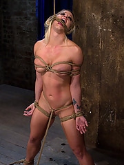 California fitness model and athlete, gets bound, stripped, made to cum and suffer.  All her muscles were useless against the tight rope! So helpless