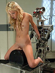 21yr old petite Blond dominated by Fuckzilla robot. She loses her mind on the Sybian,fucking it until her clit is red and too sensitive to even touch!