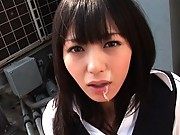Aino Kishi sucking cock in public on the rooftop of a building