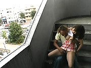 Misa Kurita has her tits exposed and fucked in a stairwell