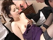 Rina Koizumi pulls down lingerie to show off her puffy nipples