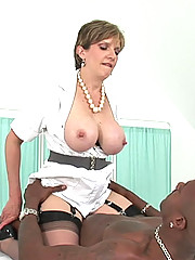 British milf nurse rides black cock