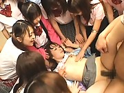 Amateur has her legs spread by the girls while she gets fucked
