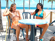 2 super hot fucking bikini babes lick and finger fuck each other hard after meeting each other at the beach hot vids