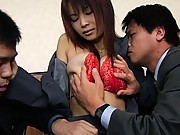 Juri Matsuzaka hot milf has two men who can´t wait to fuck her
