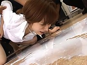 Aya Koizumi enema video expelling the liquid from her tight ass