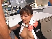 Yua Aida threesome video dressed as a hot flight attendant