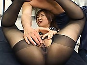 Misaki Inaba hot business milf surrounded by horny co-workers