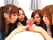 Japanese AV Model shares his hard cock with her girlfriends