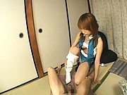 Misaki Ueno licks his asshole before stroking and sucking