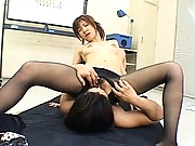 Misaki Inaba uses her pantyhose to stroke his cock in this video