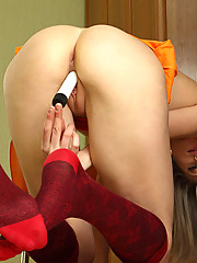 Naughty Nubile Ninita loves playing badminton but she loves to play her mini vibrator more