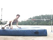 Amateur Asian babe gets naked and completes a high jump