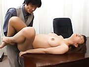 Misaki Inaba licks his cock in the office before fucking him