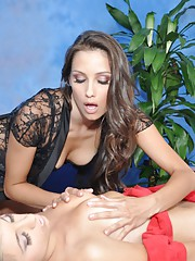 These 2 18 year old sluts fuck each other during their massage session!