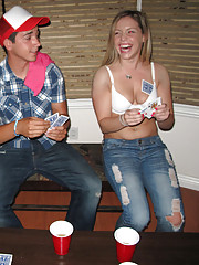Check out this hot fucking little titty college teen get her mouth and pussy fucked after a game of dorm room strip poker
