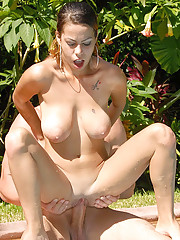 Amazing hot big tits latina get fucked hard at the poolside in this wet amateur bikini fuck pic set