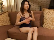 Mai Kozakura removes her sexy lingerie and plays with breasts