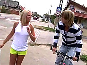 Very cute blonde banged outdoors by horny guy