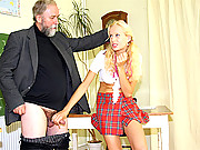 Old senior teacher fucking chick with penis