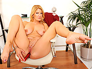 Tall busty blonde Anilos cougar pounds her pussy with a dildo