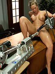Blond, tanned, toned and sweaty - Holly Heart - greases up the robot cocks with her wet and ready pussy and fucks the machines to multiple orgasms.