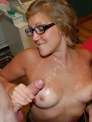 Alexis Grace and friend tug on a large cock
