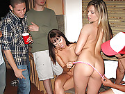 Check out 2 super hot little college teens strip masterbate and get fucked in these dorm room strip poker fucking orgy vids
