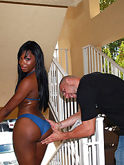 Litte titty hot ass black babe get nailed hard in these hot bikini black skin fucking pics
