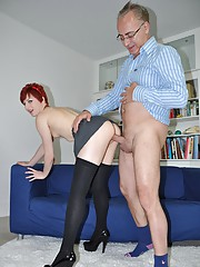 Redhead wearing tie shagged hardcore by guy