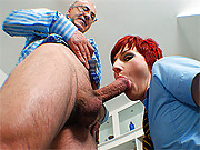 Slut with red hair getting jizzed on her butt