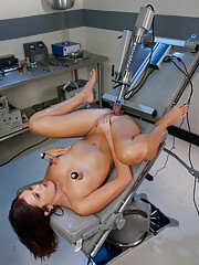 All natural sexy babe is machine fucked in a sci-fi lab. Clamps and suction on her nipples, machines pounding her to pussy multiple full body orgasms.
