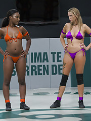 Tall Blond dominates and destroys stronger black girl on the mat.  Face sitting and brutal leg submission holds!  Non-scripted sexual wrestling!