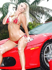 2 hot wet bikini babes cindy jones and molly fuck eachother on a ferrari in these amazing pussy licking soapy big tits fucking pics