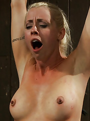 Beautiful blond girl is bound made to suck huge cock, put on a sybian, quadruple-zippered and made to cum so much she begs for it to stop.