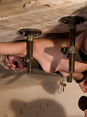 Angel-faced Chloe Camilla bolted to the ceiling in severe metal bondage, spread like a whore, abused, sprayed down and suffering from brutal orgasms.