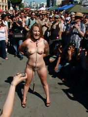 Innocent girl next door is transformed into a cock hungry bondage whore on the street
