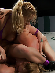 Two blond amazons battle in non-scripted sex wrestling.  One girl is totally destroyed on the mat.  Crushing submission holds and brutal leg scissors!