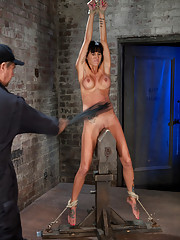 Extreme pussy torture on the wooden horse.  Add in hard flogging, a brutal zipper, and a wrist suspension and the horse doesn