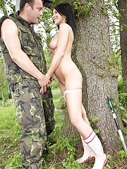 Hot teenage sweetie nailed by a horny soldier