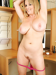 Beautiful and busty MILF Maggie from AllOver30 playing with her tits